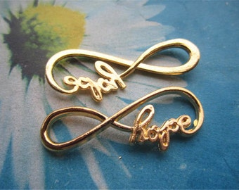high quality very strong 30pc 38x17mm Gold plated 3D Hope word Infinity charms finidings connectors