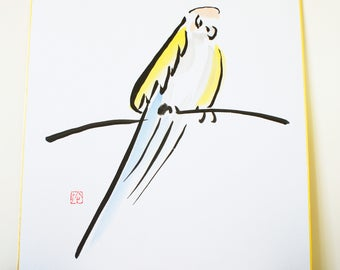 Sumie, Japanese calligraphy / Parrot