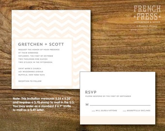 Modern Chevron Square Wedding Invitation Suite, Personalized Instant Download, Printable DIY