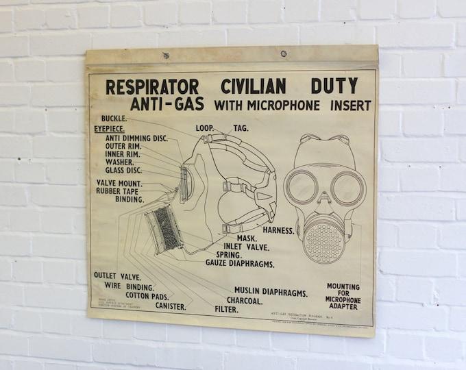 "Rare WW2 Home Office ARP Training Poster ""Civilian Gas Mask"""