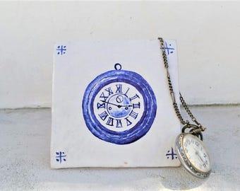 """Handmade stoneware tile clock """"relógio"""""""