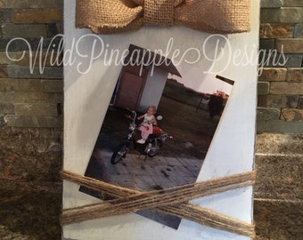 Rustic picture frame with twine and burlap bow