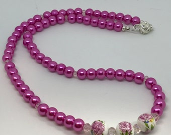 Porcelain Rose Beads & glass pearl necklace