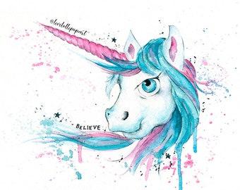 Unicorn gift, unicorn wall art, unicorn print, unicorn accessories, unicorn watercolor, unicorn birthday, unicorn decor, magical unicorn