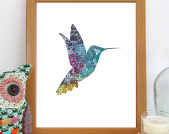 Hummingbird Print, Nursery Decor, Hummingbird Art, Printable Wall Art, Bird Decor, Instant Download