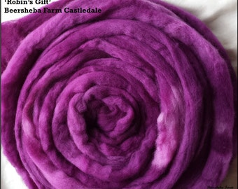 Robin's Gift - 100g (3.5oz) hand-dyed Castledale combed wool tops