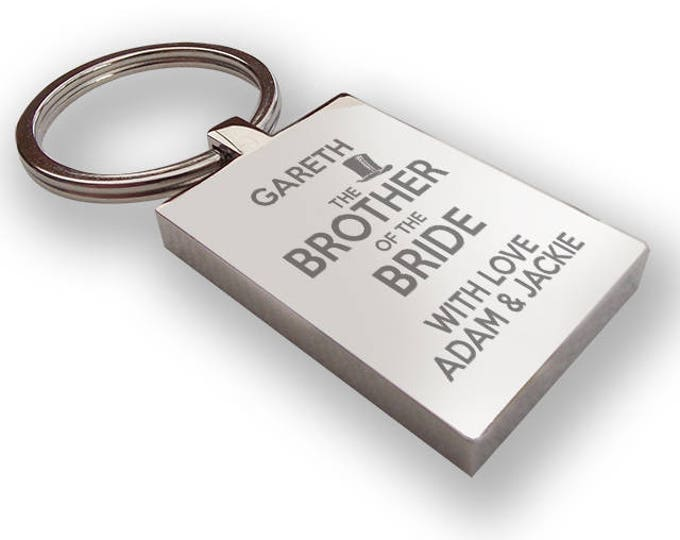 Personalised engraved BROTHER of the BRIDE keyring wedding gift, thank you favour, top hat - HA10