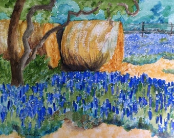 Bluebonnets and Hay, Set of 4 Blank Note Cards, 4.25x5.5 inches