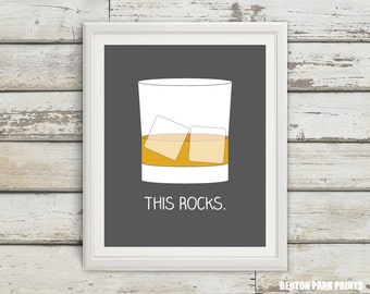 This Rocks, Scotch on the Rocks, Scotch Glass, Husband Gift, Home Bar Art, Cocktail Poster, Alcohol Art, Man Cave Decor, Home Decor, Scotch