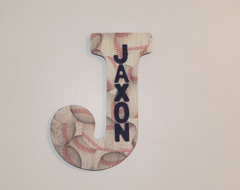 Baseball Custom Wall Letter, Baseball letter, Boys room decoration, Name art, Wall letter, Hanging letter, Nursery letter, Wodden letter