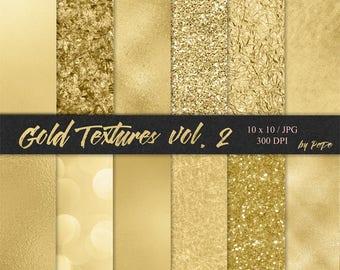 Gold digital papers, foil background, glitter textures, realistic gold, glam patterns, gold foil, gold sparkles, download