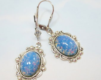 Blue Opal Earrings Dangles Light Baby Blue Fire Opal Jewelry Fantasy Mystical