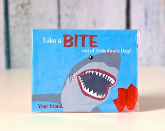 Printable Shark valentine treat bag cards with candy fish Instant Download