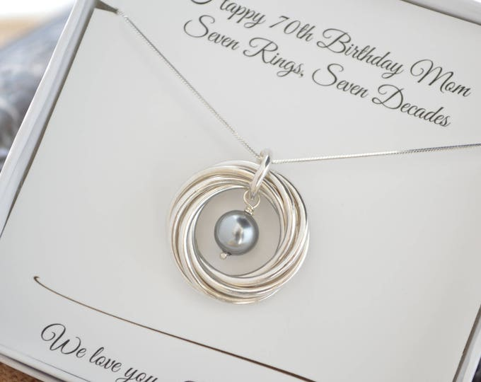 70th Birthday gift for mom and grandma necklace, Pearl birthstone necklace, 7th Anniversary gift for women, June birthstone jewelry, 7 Rings