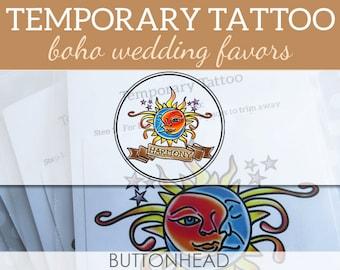 12 Celestial Wedding Favors - Boho Wedding Favors - Sun Moon Stars Wedding Temporary Tattoos