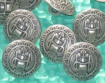 "Set 14 FLOWER Border Fancy vintage antiqued silver metal new buttons 5/8"""
