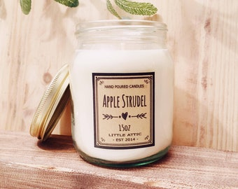 Apple Pie Scented Candle, Apple Candle, Soy Wax Candle, Birthday Gift, All Natural Candles, Vegan Friendly Gifts