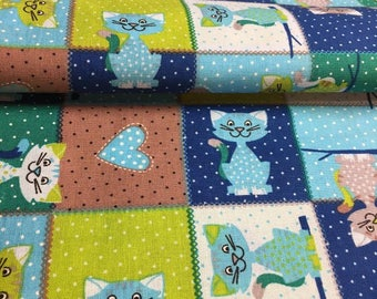 Cats, patch, multicolored fabric 100% cotton