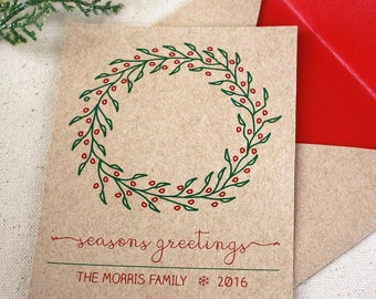 Christmas Card Set, Holiday Card Set, Holiday Berry Wreath Card, Set of 10
