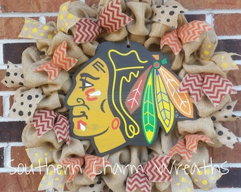 Natural Burlap Chicago Blackhawks Hockey Wreath