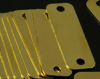 40 pcs Raw Brass 10x30 mm rectangle tag 2 hole connector Charms ,Findings 716R-38