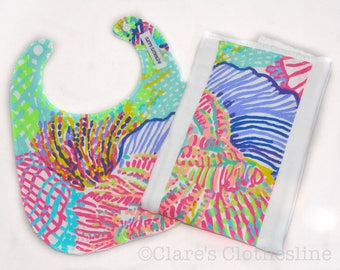 Lilly Pulitzer Bib and Burp Cloth Set - Lilly Pulitzer Roar of the Seas Bib and Burp Cloth - Ready to Ship