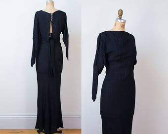 1930s Dress / 30s Black Evening Gown