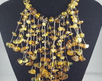 Amber multi-strand necklace