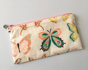 Butterfly zipper pouch, make-up bag, gift for her