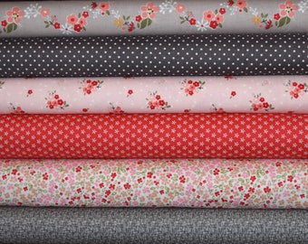 Pipers November Floral Fat Quarter Favorite Set of 6 Fats all from Riley Blake Designs