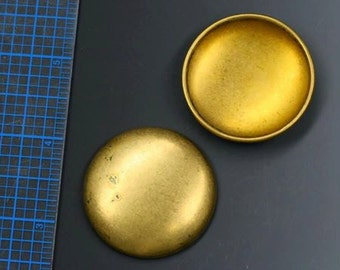 "Brass cabochon. Vintage large hollow brass. 1 1/2"". Priced per cabochon. Beadwork, Jewelry making, Jewelry supply."