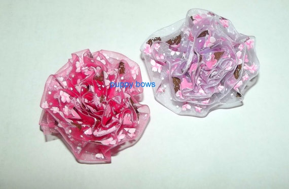 Puppy Dog Bows ~ Shabby chic lace rose flowers PINK & PURPLE pet hair bow barrettes or bands (fb59)