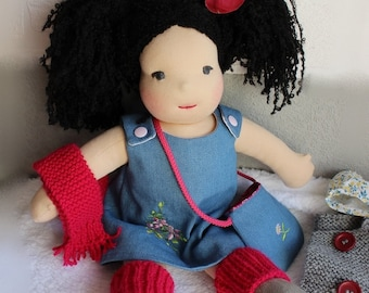 Doll, fabric, cloth 42 cm with her wardrobe dress