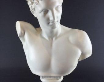 Large (53 cm - 9 kg) sculpture statue bust HERMES pedestal - CP sign. JP