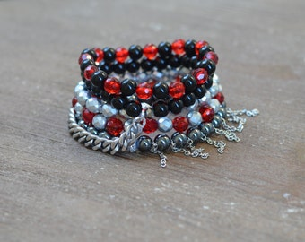 CLOSEOUT Red and Black Bracelet Stack - UGA Bracelet - Beaded Stretch Bracelet Stack - Layered Bead Bracelet - Game Day Jewelry