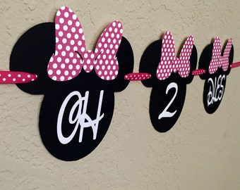 Minnie Mouse Birthday Banner, Oh-Two-Dles Banner, Minnie Oh-Two-Dles, Minnie Mouse Birthday, Minnie Mouse Party, Minnie Mouse Banner
