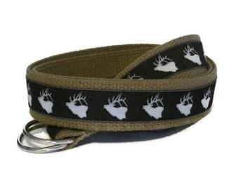 Gray Stag Belt for boys young teens/ Canvas Belt/ Black D-ring Belt/ Webbing Belt/ Ribbon Belt/ Deer Belt for Boys
