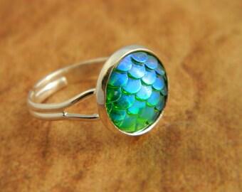 Green Mermaid Ring, Dragon Ring, Mermaid Scales, Dragon Scales, Fantasy Jewellery, Mermaid Jewelry, Dragon Gift, Green Ring, Mermaid Tail
