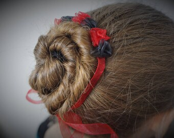 Black Red Bun Flower Dancer Ballet Wraps Bun Wreaths Rosette Garland Bun Tie Bun Holder