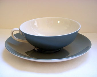 1950s Franciscan Encanto Spruce Tea Cups w saucers - Set of Five