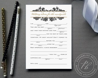 Black and Gold Damask Wedding Mad Libs Printable, Wedding guest advice cards, Advice for the newlyweds, Madlib guest book alternative