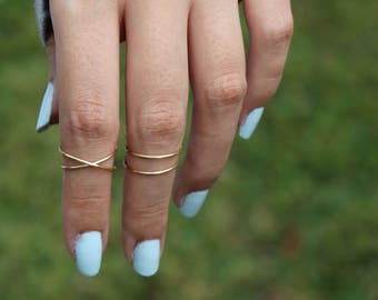 Criss cross ring, x ring, knuckle ring, criss cross knuckle ring, midi ring set, cross ring, boho rings, criss cross gold ring, midi set
