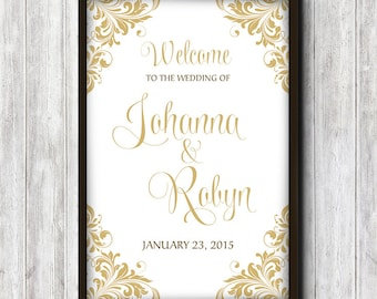 """Wedding Welcome Sign Printable   Gold Typography Script """"Maggie"""" Flourish Stag Doe Engagement Party Wedding Poster   DIGITAL File Only"""