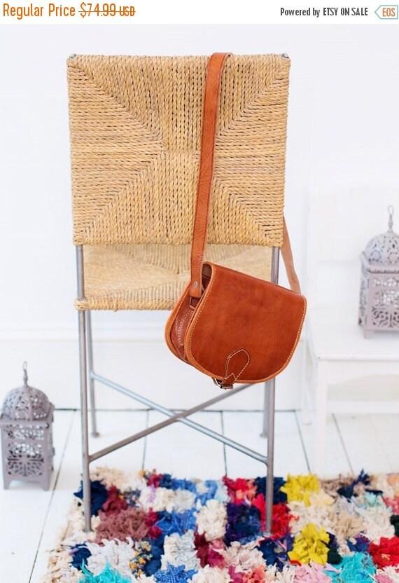Moroccan Brown Tan Round Leather Satchel Cross Shoulder Straps Berber style-bag, tote, handbag, purse, gifts