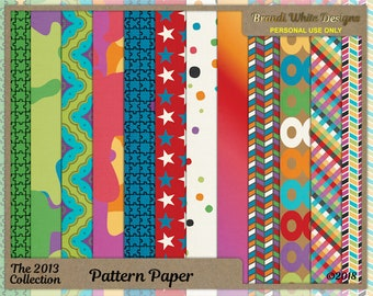 Patterned Background Paper, Colorful Scrapbook Papers, Digital Backgrounds