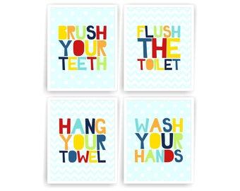 Kids printable bathroom wall art prints bathroom decor brush your teeth wash your hands hang your towel flush the toilet ( 001BATH810 )