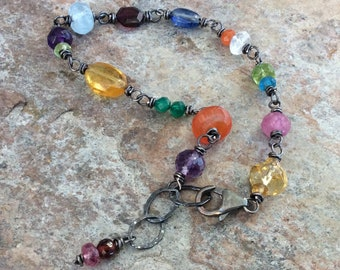 Multi GEMSTONE bracelet, stacking bracelet, handmade jewelry, sterling silver Moonstone Garnet Kyanite Citrine Peridot, Sapphire, Aquamarine