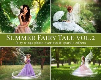 "Fairy photo overlays ""Summer Fairy Tale vol.2"", wings photo overlays and sparkle photo overlays, creative photo overlays for Photographers"