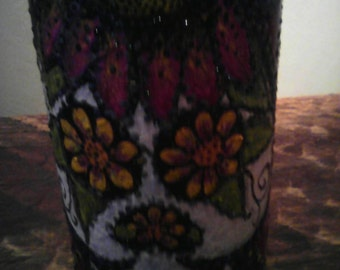 Dia de los muertos hand painted wine bottle       MADE TO ORDER
