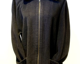 70s Black Long Wool 3/4 Sleeve Over Sized Minimalist Coat Jacket 23e0soV